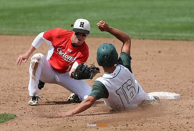 Harlan shortstop Dillon Sears catches Pella's Avery Van Zee stealing during the sixth inning in a Class 3A Semifinals game at Principal Park in Des Moines, Iowa on Friday, July 31, 2015. (Photo by Dylan Heuer/Iowa Cubs)