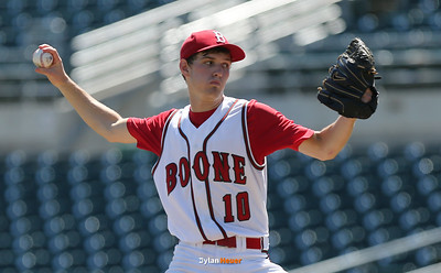 Boone starter Storm Wagner pitches during the third inning in a Class 3A Semifinals game at Principal Park in Des Moines, Iowa on Friday, July 31, 2015. (Photo by Dylan Heuer/Iowa Cubs)