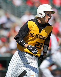 WSR's Cole Havlovic celebrates as he rounds first base after hitting a three-run double during the second inning in a Class 3A Semifinals game at Principal Park in Des Moines, Iowa on Friday, July 31, 2015. (Photo by Dylan Heuer/Iowa Cubs)