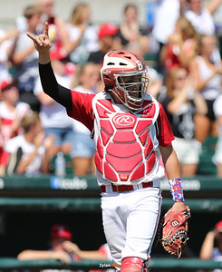 Boone catcher Nolan Newcomb signals two outs during the second inning in a Class 3A Semifinals game at Principal Park in Des Moines, Iowa on Friday, July 31, 2015. (Photo by Dylan Heuer/Iowa Cubs)