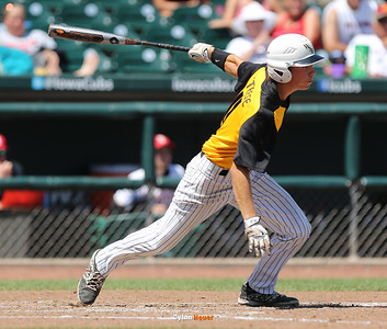 Dalton Steere hits a two-run, walk-off single during the fifth inning to lift WSR to a 12-2 victory over Boone after a Class 3A Semifinals game at Principal Park in Des Moines, Iowa on Friday, July 31, 2015. (Photo by Dylan Heuer/Iowa Cubs)