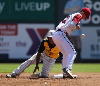 WSR's Camry Moore safely slides into second base ahed of Boone shortstop Tyler Newbold during the third inning in a Class 3A Semifinals game at Principal Park in Des Moines, Iowa on Friday, July 31, 2015. (Photo by Dylan Heuer/Iowa Cubs)