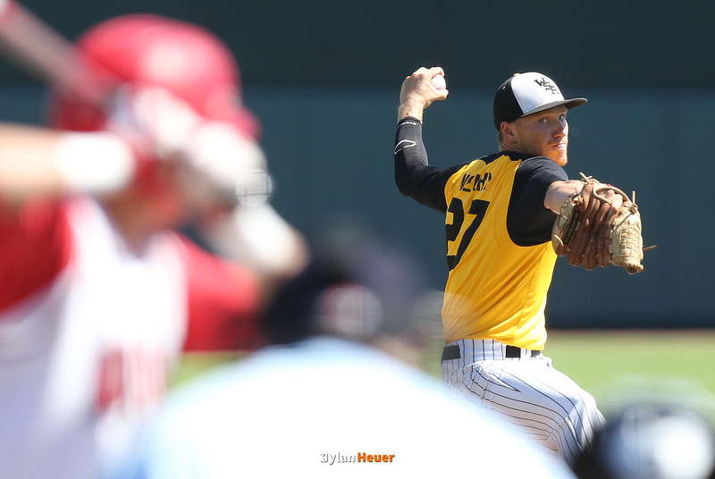 WSR starter Jake Velky pitches during the first inning in a Class 3A Semifinals game at Principal Park in Des Moines, Iowa on Friday, July 31, 2015. (Photo by Dylan Heuer/Iowa Cubs)