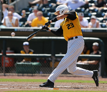 WSR's Cole Havlovic hits an RBI single during the third inning in a Class 3A Semifinals game at Principal Park in Des Moines, Iowa on Friday, July 31, 2015. (Photo by Dylan Heuer/Iowa Cubs)