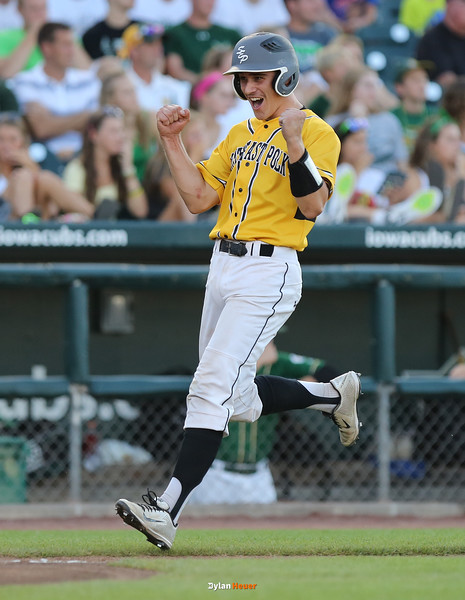 SE Polk's Cam Shannon celebrates while scoring a run during the first inning in the Class 4A State Championship at Principal Park in Des Moines, Iowa on Saturday, August 1, 2015. (Photo by Dylan Heuer/Iowa Cubs)