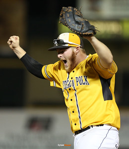 SE Polk first baseman Zack Hamilton celebrates as he records the final out during the seventh inning in the Class 4A State Championship at Principal Park in Des Moines, Iowa on Saturday, August 1, 2015. (Photo by Dylan Heuer/Iowa Cubs)