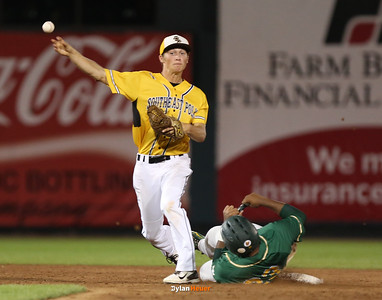 SE Polk second baseman Nathan Gjersvik completes a double play over IC West's Izaya Ono-Fullard during the fifth inning in the Class 4A State Championship at Principal Park in Des Moines, Iowa on Saturday, August 1, 2015. (Photo by Dylan Heuer/Iowa Cubs)