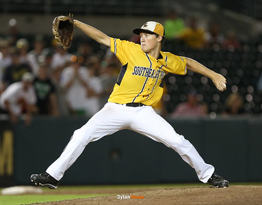 SE Polk starter Thomas McLaughlin pitches during the seventh inning in the Class 4A State Championship at Principal Park in Des Moines, Iowa on Saturday, August 1, 2015. (Photo by Dylan Heuer/Iowa Cubs)
