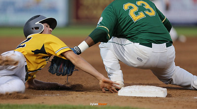 SE Polk's Carter Bauge is out at third base by IC West third baseman Izaya Ono-Fullard during the sixth inning in the Class 4A State Championship at Principal Park in Des Moines, Iowa on Saturday, August 1, 2015. (Photo by Dylan Heuer/Iowa Cubs)