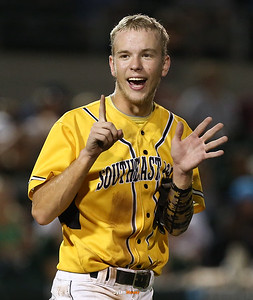 SE Polk's Sam Henry signals six runs after the sixth inning in the Class 4A State Championship at Principal Park in Des Moines, Iowa on Saturday, August 1, 2015. (Photo by Dylan Heuer/Iowa Cubs)