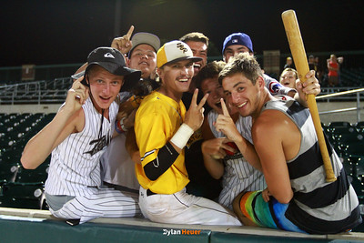 SE Polk's Cam Shannon celebrates with fans after the Class 4A State Championship at Principal Park in Des Moines, Iowa on Saturday, August 1, 2015. (Photo by Dylan Heuer/Iowa Cubs)