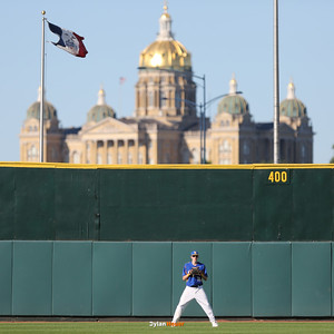North center fielder Collin Guinn preapres for a pitch during the fourth inning in a Class 4A Quarterfinals game at Principal Park in Des Moines, Iowa on Wednesday, July 29, 2015. (Photo by Dylan Heuer/Iowa Cubs)