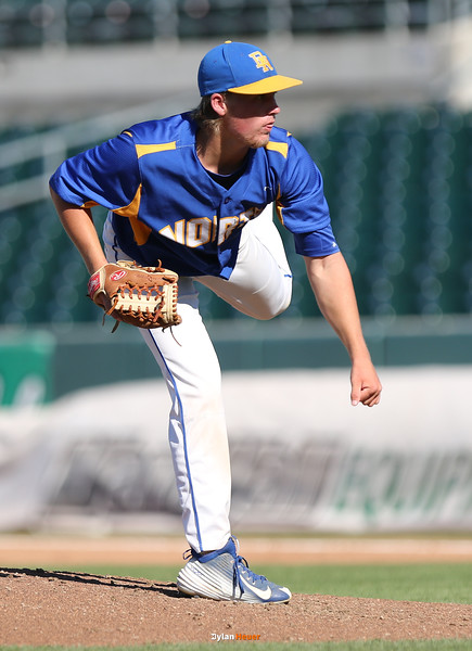 North starter Dantley Johnson pitches during the second inning in a Class 4A Quarterfinals game at Principal Park in Des Moines, Iowa on Wednesday, July 29, 2015. (Photo by Dylan Heuer/Iowa Cubs)