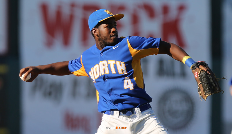 North third baseman Trey Walton throws to first base for an out during the fourth inning in a Class 4A Quarterfinals game at Principal Park in Des Moines, Iowa on Wednesday, July 29, 2015. (Photo by Dylan Heuer/Iowa Cubs)