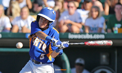 North's Ben Beutel hits into an error that also drove in a run during the fourth inning in a Class 4A Quarterfinals game at Principal Park in Des Moines, Iowa on Wednesday, July 29, 2015. (Photo by Dylan Heuer/Iowa Cubs)