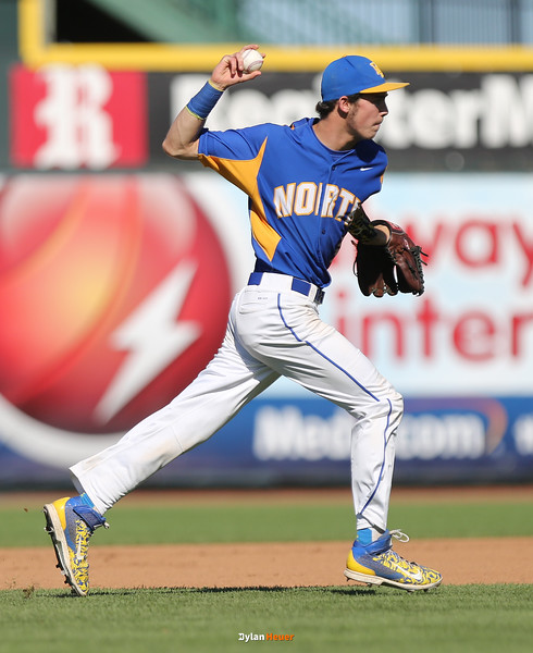 North shortstop Calvin Conger throws to first base for an out in a Class 4A Quarterfinals game at Principal Park in Des Moines, Iowa on Wednesday, July 29, 2015. (Photo by Dylan Heuer/Iowa Cubs)