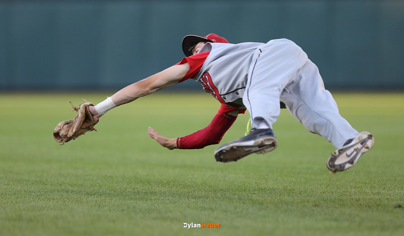 DM East second baseman Calob Dicks makes a diving catch during the fourth inning in a Class 4A Quarterfinals game at Principal Park in Des Moines, Iowa on Wednesday, July 29, 2015. (Photo by Dylan Heuer/Iowa Cubs)