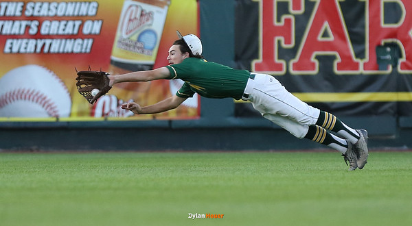 IC West centerfielder Kevin Delaney makes a divigg catch during the fifth inning in a Class 4A Quarterfinals game at Principal Park in Des Moines, Iowa on Wednesday, July 29, 2015. (Photo by Dylan Heuer/Iowa Cubs)
