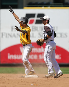 SE Polk's Tim Neff celebrates after safely sliding into seond base ahead of SC East's Spencer Frankoduring the ## inning in a Class 4A Quarterfinals game at Principal Park in Des Moines, Iowa on Wednesday, July 29, 2015. (Photo by Dylan Heuer/Iowa Cubs)