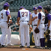 Waukee coach Dave Dirkx talks with his team during the seventh inning in a Class 4A Quarterfinals game at Principal Park in Des Moines, Iowa on Wednesday, July 29, 2015. (Photo by Dylan Heuer/Iowa Cubs)