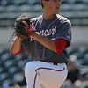 North Scott starter Matt Sacia pitches during the first inning in a Class 4A Quarterfinals game at Principal Park in Des Moines, Iowa on Wednesday, July 29, 2015. (Photo by Dylan Heuer/Iowa Cubs)