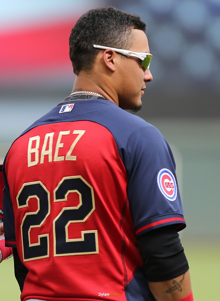 Javier Baez of the World Team (Cubs) stands during the national anthem before the game at Target Field in Minneapolis, Minnesota on Sunday, July 13th, 2014.