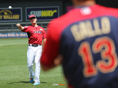 Kris Bryant of the United States (Cubs) plays catch with Joey Gallo of the United States (Rangers) during the pre-games at Target Field in Minneapolis, Minnesota on Sunday, July 13th, 2014.