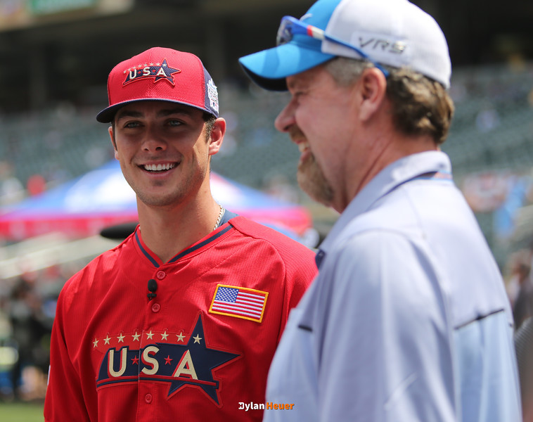 Kris Bryant of the United States (Cubs) smiles with former baseball great Rick Sutcliffe during the pre-games at Target Field in Minneapolis, Minnesota on Sunday, July 13th, 2014.