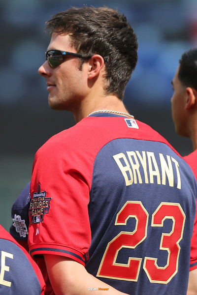 Kris Bryant of the United States (Cubs) stands during the national anthem at Target Field in Minneapolis, Minnesota on Sunday, July 13th, 2014.