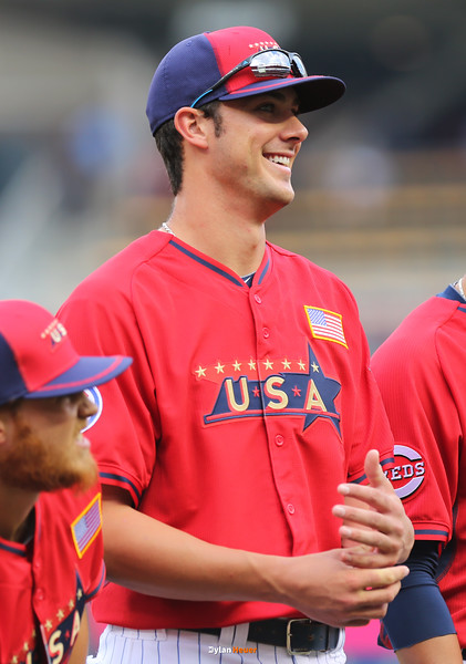 Kris Bryant of the United States (Cubs) looks on before the game at Target Field in Minneapolis, Minnesota on Sunday, July 13th, 2014.