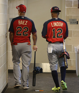 Javier Baez of the World Team (Cubs) and Francisco Lindor of the World Team (Indians) walk through the tunnel to the field during the pre-games at Target Field in Minneapolis, Minnesota on Sunday, July 13th, 2014.