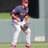 Javier Baez of the World Team (Cubs) gets set at Target Field in Minneapolis, Minnesota on Sunday, July 13th, 2014.