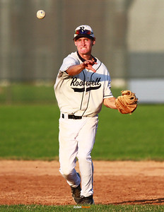 The Roosevelt Roughriders' [action] during the [##] inning vs the Marshalltown Bobcats at Marshalltown High School in Marshalltown, Iowa, on Friday, July 13th, 2012.