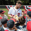 Bryce Harper of the Washington Nationals reveals his cleats for the 2018 All-Star Home Run Derby during the Bryce Harper All-Star Complex Dedication at Fred Crabtree Park on Monday July 16, 2018 in Reston, Virginia. Photo by Mary DeCicco/MLB Photos