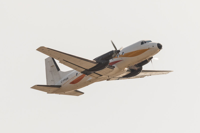 Air Creebec cargo HS-748 C-FPJR over the Moose River at Moosonee.