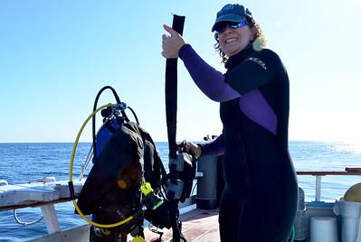 Linda Gorman gets ready for dive #400 . . .