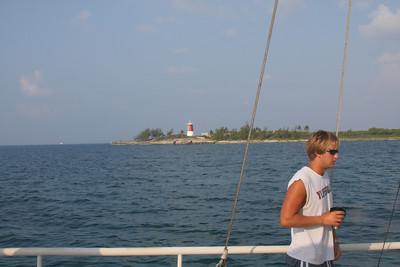 Landon.  Gun Cay in background.