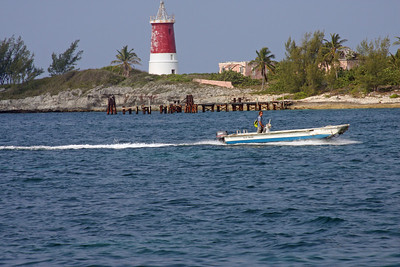 Captain Brandon returning from checking us in with the Bahamian officials on Cat Cay.