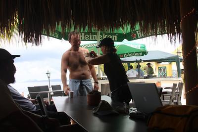 Debbie documenting Joe's chest hair
