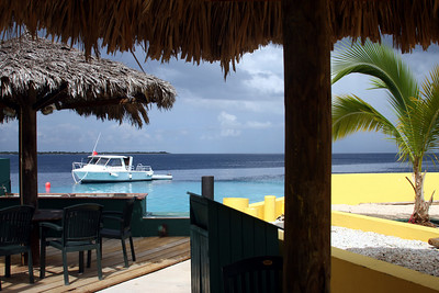 Klein Bonaire (a barren, protected, great dive-site island) in the background - from the Buddy Dive Bar.