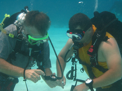 Tom explaining the nuances of underwater navigation to Clay