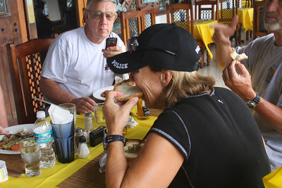 Debbie finally found some conch chowder on our last day. The shell-fish apparently to blame for her uninhibited behavior that evening.