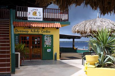 Buddy Dive dive shop underneath the Lion's Den Restaurant
