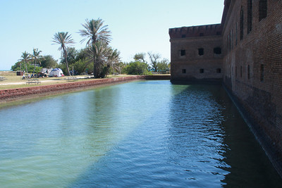 The moat completely surrounds the fort