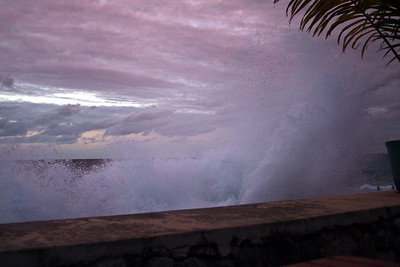 Talk about your angry seas . . . this is from the top of the sea wall - about 10 feet above the shore.