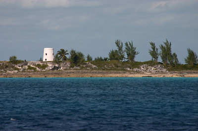 Abandoned light house on uninhabitated spit of land somewhere in the Eleutheras