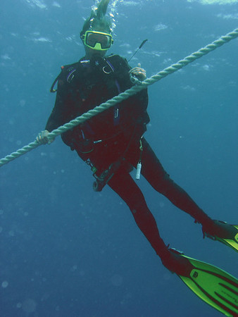 Beth heading down the mooring line