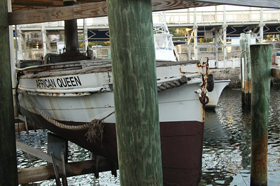 The original 'African Queen' from the movie of the same name permanently on display in Key Largo.