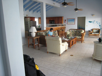 Sitting room looks out to the Caribbean
