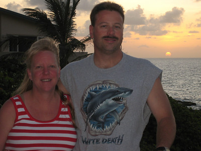 Kim and Darin at sunset on the patio of our villa.